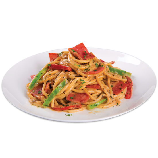 Beef Pepper Spaghetti with Cheese