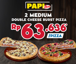 Paket Medium Dua Pizza - Double Cheese Burst