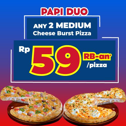Paket Medium Dua Pizza - Cheese Burst