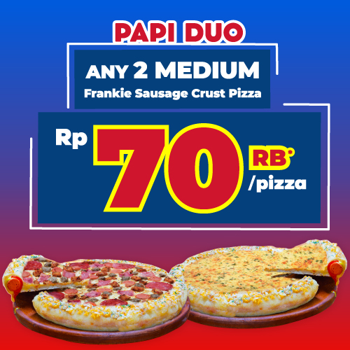 Paket Medium Duo Pizza - Frankie Sausage Crust
