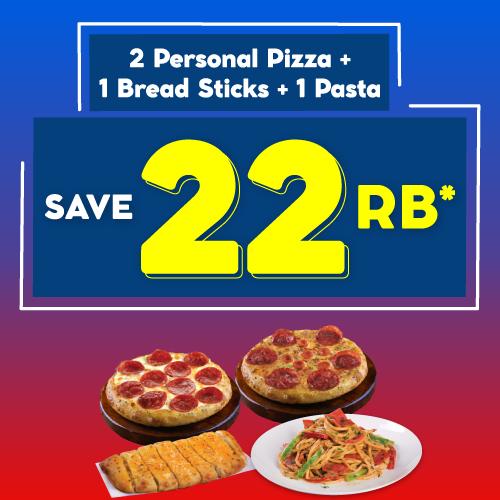 2 Pizza + 2 Sides HANYA 98 Ribuan